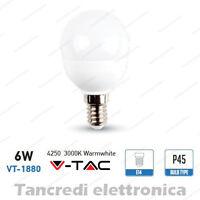 Lampadina led V-TAC 6W = 40W E14 bianco caldo 3000K VT-1880 miniglobo P45 bulbo