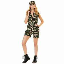 Womens Camo Girl Costume Army Military Soldier Uniform Fancy Dress Outfit