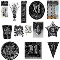 Glitz Black/Silver 21st Birthday Party Tableware Decoration Plates Banners Age21
