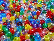 Lot of 1000 Transparent Pony Beads 9mm Assorted Colors Art Craft Supplies Bulk