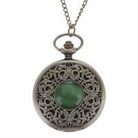 Stylish Retro Emerald Quartz Flip Pocket Watch Watch With Carved Necklace Chain