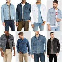 Levis Mens Regular Fit Button Front Denim Trucker Jacket Blue Black White Gray