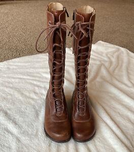 DANSKO Glazed Tall Boots Women's Size EU 36-6 Lace Up & Zip Up Christmas Gift