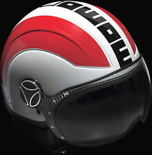 CASCO MOMO AVIO COLOR BLANCO-ROJO TALLA XS