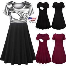 Women Pregnancy Breastfeeding Short Sleeve Dress Casual Maternity Clothes Summer