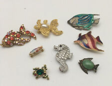 Vintage Sealife Enamel Rhinestone Brooch Pin Lot Fish Frog Sea Horse Turtle