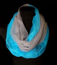 B135 Eternity Ombre Chiffon Tulle Gray Teal Blue Sheer Infinity Scarf