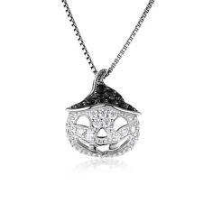 JewelryPalace  Zirkonia Schwarz Spinell Anhänger Halskette 925 Sterling Silber