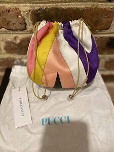 Emilio Pucci Vintage Yellow leather and silk soft bucket drawstring bag Italy