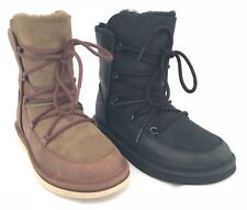 UGG AUSTRALIA LODGE CHOCOLATE & BLACK SUEDE SHEEPSKIN LACE UP WINTER BOOTS
