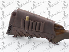 New 100% Leather Rifle Cartridge Holder Ammo Buttstock   Made in Europe. QW/14