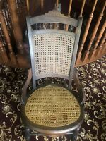 Antique Sm Rattan  Rocker Rocking Chair Hand Cane Early 1900 36x18