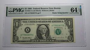 $1 1995 Radar Serial Number Federal Reserve Currency Bank Note Bill PMG UNC64EPQ