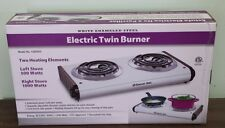 Electric Twin Burner Portable Stove White Enameled Steel by Comfort Zone CZDS93