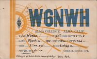 Vintage QSL HAM Radio Card W6NWH Used Posted 1938 Alma College California