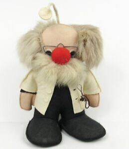 """Vintage 80s FUFEL Doll Doctor Old Man Lab Coat Head Mirror 11"""" TE RI Canada Felt"""