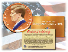 Colorized JOHN F. KENNEDY * Commemorative Medal * U.S. Inaugural Bronze Coin JFK