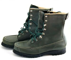 QUALITY NOS Green Leather Hunting Combat Boots Field and Stream 10 D USA