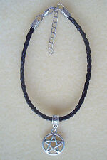 Pentagram Charm Black Plaited Leather Friendship Bracelet ~  Wicca Pagan Witch
