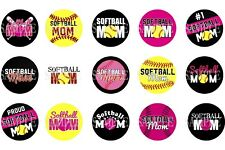 15 Pre-Cut Softball Mom 1 Inch Bottle Cap Images