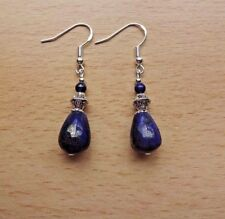 Lovely  LAPIS LAZULI drop EAR RINGS St Silver Gift wrapped