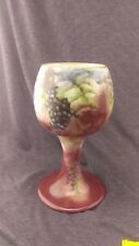 Antique T.V. Limoges France Hand Painted Grapes Porcelain Large Wine Chalice