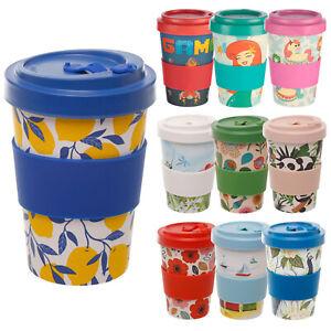 New Reusable Bamboo Fibre Ecoffee Cups Eco Friendly Travel Tea Coffee Mugs 13oz