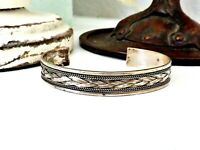 Sterling Silver 925 Vintage Stack Stacking Layer Woven Slip On Cuff Bracelet