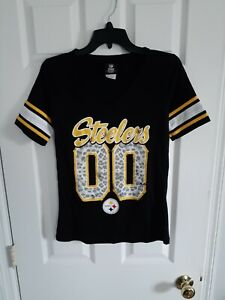 NFL Team Apparel, Womens Small, Pittsburgh Steelers, 00 Leopard, T-Shirt