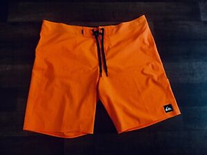 Mens Size 40 Quicksilver Neon Orange Swim Trunks / shorts