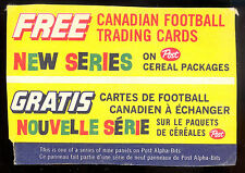 1963 POST CFL FOOTBALL RARE BILINGUAL Advertising Cereal Box Trading Card