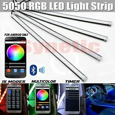 "4x 12"" RGB Multi Color 5050 LED Truck Car Interior Lighting Bar Bluetooth Remote"