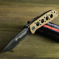 Smith & Wesson Extreme Ops 7Cr17 Part Serrated Tactical Knife Desert CK5TBSD