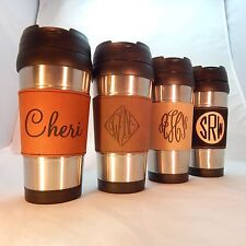16 oz Personalized Custom Stainless Steel Travel Mug w/Leather Engraved Grip
