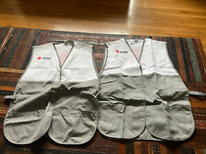 2 American Red Cross Disaster Relief Gray White Volunteer Vest One Size Adult L