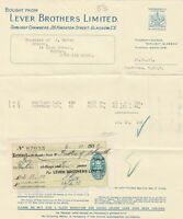 Lever Brothers Limited 1931 Soapmakers to King Invoice & Stamp Receipt Ref 41710