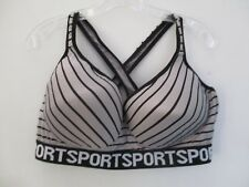 Just Be... Women's Size 44 D Gray Black Striped Wire Free Athletic Sports Bra