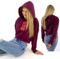 New Ladies Topshop Maroon Cropped Hooded Sweatshirt Slogan Hoodie Top Size 4 -12