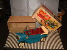 SSS INT'L ANTIQUE DELUX TOURER, TIN, FRICTION DRIVEN OLD~TIMER CAR W/BOX AQUA.