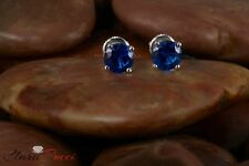 2.0 CTW Round Cut Blue Stud Earrings in Solid 14k Real White Gold Screw Back