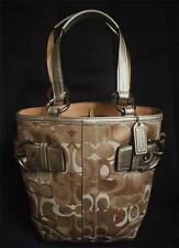 Coach Small Optic Signature C Metallic Leather Tote Bag Purse 0498 EUC