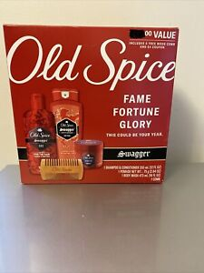 Old Spice Swagger Gift Set Shampoo Pomade Body Wash Comb Unused