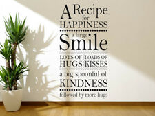 "Wall Art Sticker ""A Recipe For Happiness.."" Wall Quote, Vinyl Modern Transfer"