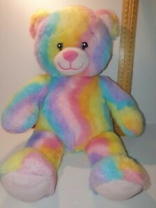 """Rainbow Curved Pattern Teddy Plush with """"I love you"""" speaking box in hand"""
