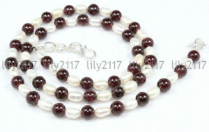 Genuine 6-7mm White Freshwater Pearl & 6mm Red Garnet Gems Necklace 18-48'' AAA