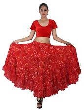 RED Cotton JAIPUR 25 Yard 4 Tier Gypsy Skirt American Belly Dance Polka Dot