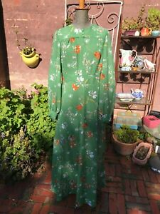 Vintage retro 60s 70s long sleeve green orange pink floral maxi dress size 12