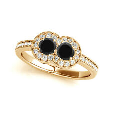 1.30 Cts Black AAA 2 Stone Diamond Solitaire Engagement Ring 14k Yellow Gold