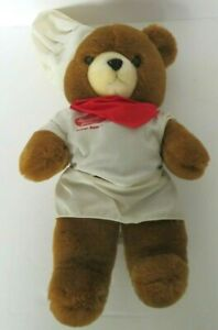 "Vintage SUNBEAM BAKER Bear by Checkmate Promotions Plush Brown 15"" Tall"