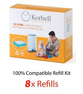 Korbell Nappy Disposal  8 REFILLS for 16L Bin - 100% Compatible Kit